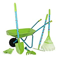 Small Foot 12014 Large Garden Set with Wooden and Metal Wheelbarrow 7-Piece Outdoor Toy Set, Multi-Colour