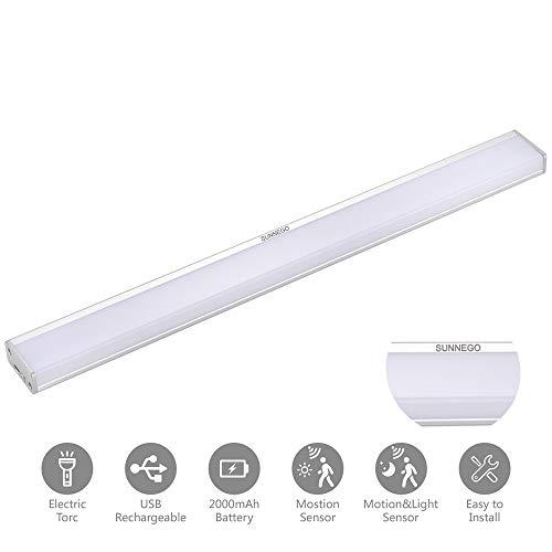 LED Sensor Licht,Sensor Schrank Licht,Nachtlicht unter Schranklicht Küchenleuchte USB wiederaufladbar für Kleiderschrank,Flur, Treppe, Küche, Keller, Garage, Schrank, Regal etc (Grau-Warmes Licht) -