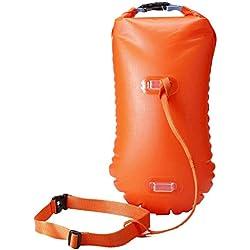 LIOOBO Flotteur et Sac de sécurité pour nageuses en Eau Libre Triathlètes Kayakistes et plongeurs avec Masque et Tuba Flotteur de bouée très Visible pour Un entraînement en Toute sécurité (Orange)