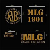 #1: isee360 E4 Customized Royal Enfield Combo Kit of Water Resistant Reflected Stickers_ 4 item included -Gold Color - Standard Size For Sides Tank,Battery Cover,Stem,Helmet