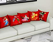 Urban Magic 3D Printed Cushions Cover (Pack of 5, 40 cm*40 cm, Multicolor)