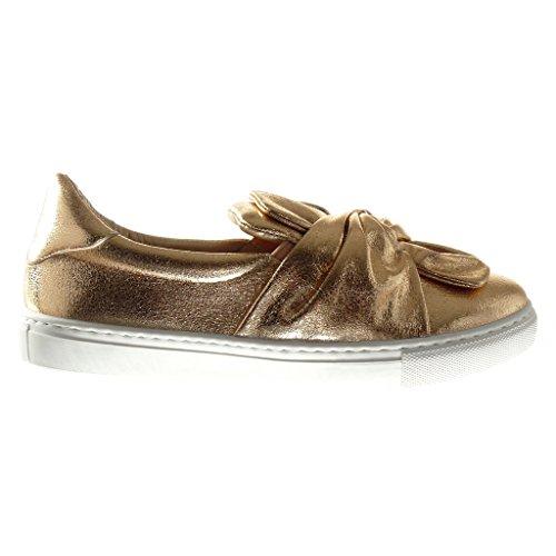 Angkorly Scarpe Moda Sneaker Slip-On Donna Papillon Lucide Tacco Tacco Piatto 2.5 cm Champagne