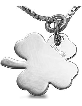 Gravur Wunschname Schmuck Silber vierblättriges Kleeblatt Kette ,Anhänger & 45cm Halskette #1565