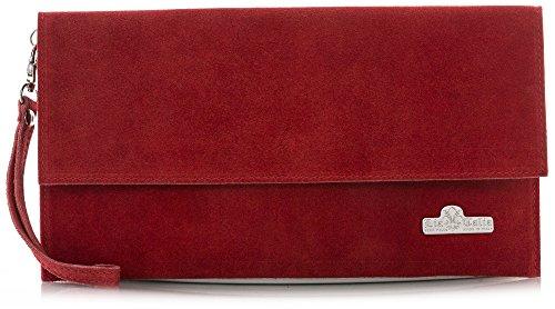 LiaTalia Italienische Armclutch aus Wildleder mit Baumwollfutter und Staubschutztasche - Cheryl Rot
