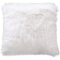 LIVEBOX Deluxe Home Decorative Super suave piel sintética de Mongolia de peluche manta funda de almohada Funda de cojín, Blanco, 24 x 24 Inch