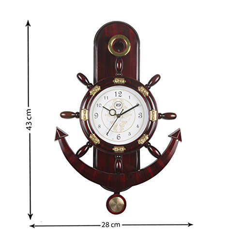 Panna RD prt Enterprise Analog Wall Clock,Reddish Brown