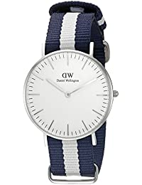 Daniel Wellington - 0602DW - Glasgow - Montre Mixte - Quartz Analogique - Cadran Argent - Bracelet Nylon Multicolore