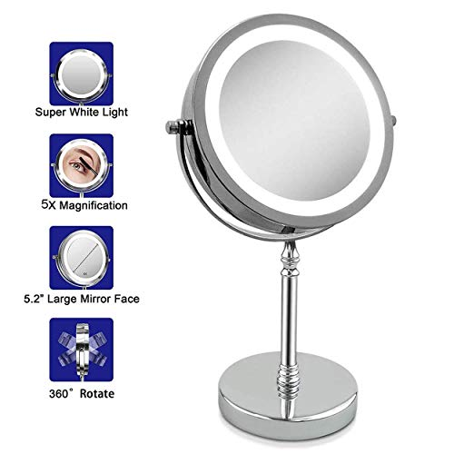 YYLNB Espejo de Maquillaje Iluminado, inalámbrico Recargable Controles táctiles 1X / 5X de Aumento...