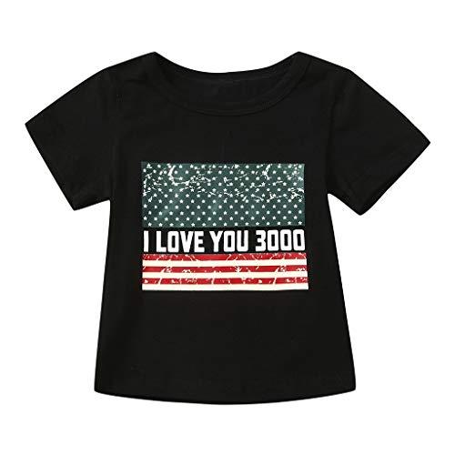 VBWER Toddler Kids Baby Boy 4 Stelle della Serie Star Stripe Family Flag T-Shirt patriottica