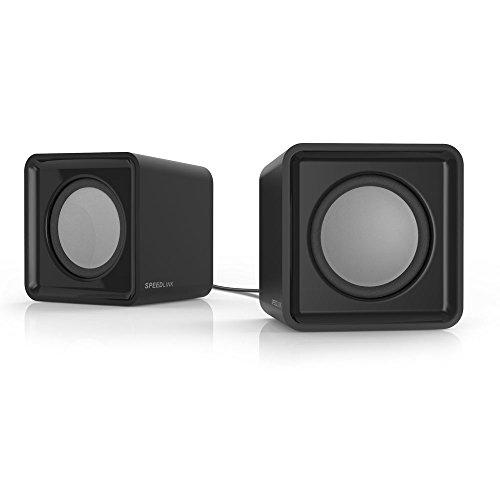Speedlink USB-betriebene Stereo-Lautsprecher - TWOXO Stereo Speakers USB / 3,5 (5W RMS Ausgangsleistung - Frequenzbereich 50 Hz – 20 kHz - Maße: 62 × 60 × 62mm (B×T×H)) Computer / Laptop schwarz
