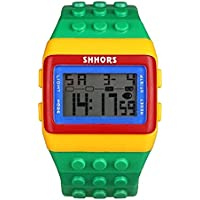 v_esafe Unisex Jungen mädchen LED Regenbogen elektronische sportuhren multifunktionale silikonband armbanduhren Student Geschenk (D)