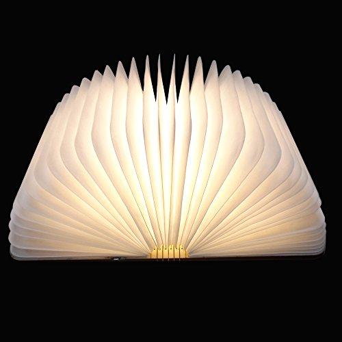Preisvergleich Produktbild LED Buchlampe faltbar Tischlampe aus Holz USB Kabel 2500 mAh