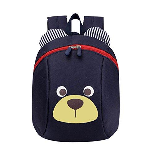 GWELL Süß Bär Mini Rucksack Kinder Babyrucksack Kindergartenrucksack Backpack Schultasche Kleinkind Mädchen Jungen dunkelblau