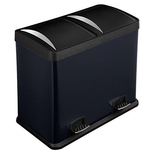 Lyndan - 48 Liter 48L großer schwarzer Stahl Treteimer mit Deckel und Doppelt, Küche, Garage, Schuppen und Heimgebrauch Recyceln Mülleimer Müll Abfall Eco Mülleimer Recycling