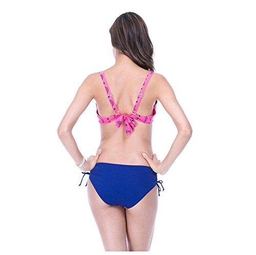 Buluke Frauen Blumenmuster Neckholder Bikini rose red