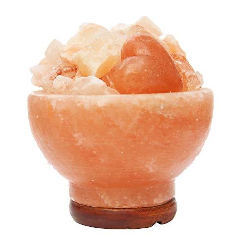 Con lampada magica salt ® sale dell' himalaya braciere naturale iones terapeutico 2.5-3.5kg con 2fatti a mano a forma di cuore per la griglia include speciale dimmer cavo e alta finitura base in legno.