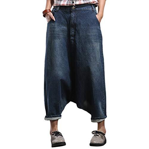 YuanDian Donna Baggy Pantaloni Harem Jeans Cavallo Basso Loose Fit alla Turca Stile Aladino Hippie Casuale Oversized Ricamo Larghi Denim Turca Hippy Pantaloni 1# Bleu