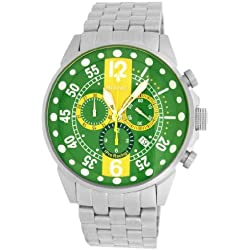 Roberto Bianci Gents 'Pro Racing' Stainless Steel Chrono Watch with Green and Yellow