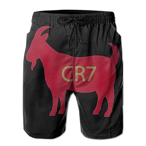 LarissaHi Goat CR7 Gold Herren Schnelltrocknende Badehose Beach Shorts Board Shorts M