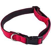 Perro collares–Azul y rojo acabado algodón con forro de neopreno–fácil de perros que Pull–mejor collar de adiestramiento para perro para mayor comodidad–fuerte D anillo para poner una correa–tratar su perro hoy.