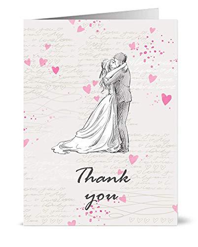 Dankeskarten im Vintage-Stil für Hochzeit, Motiv: Braut und Bräutigam mit der Aufschrift