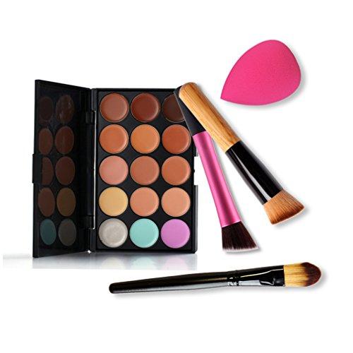 Gracelaza 4 Pcs Pinceaux Maquillage Trousse, 1 Éponge Fondation Puff + 15 Couleurs Palette de Maquillage Correcteur Camouflage Crème Cosmétique Set