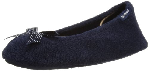 isotoner-double-bow-terry-ballet-slippers-damen-hausschuhe-blau-navy-white-spot-bow-grosse-m