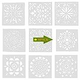 Stencil Migavan, 9 Pezzi 15X15Cm Riutilizzabile Plastica Stencil Pittura Modelli per Manuale Fai Da Te, Artigianato, Pareti, Pittura Del Corpo Ecc.