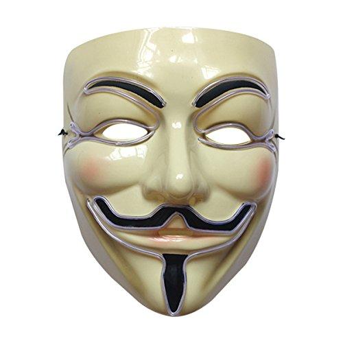 Herren Dammen Anonymus Licht Maske V for Vendetta Licht Halloween-Maske Boolavard