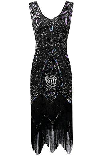 ArtiDeco 1920s Kleid Damen Retro 20er Jahre Stil Flapper Kleider mit Fransen V Ausschnitt Gatsby Motto Party Kleider Damen Kostüm Kleid (Schwarz, L (Fits 82-88 cm Waist & 96-99 cm Hips))
