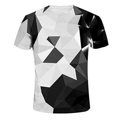 Plus Lustige Kostüm Größe - Quceyu T Shirt Herren 3D Kreativ Muster Kurzen Ärmels mit Rundhalsausschnitt Lässig Graphic Top Tees (X-Large, Geometrie)
