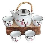 AAF Nommel  ®. Teeset Kirschblüte – Sakura - aus Keramik Weiss 5 TLG. im Geschenkkarton Nr. 112