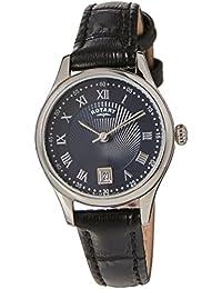 Para mujer giratorio relojes reloj infantil de cuarzo con azul esfera analógica y plateado correa de piel ls00337/05