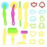 Eizur Knetwerkzeug Teig Plastilin Werkzeuge Knete zubehör Ausstechformen Küchenspielzeug Play Teig Kneten Spielzeug Zubehör Kit Teig Kneten Spielzeug Formen und Werkzeuge, 20 Stück (Farbe zufällig)