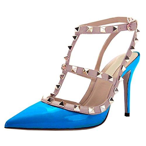 Oasap Femme Chaussure A Talons Hauts Rivet Décoration Talons Aiguilles Bout Fermé Sky Blue