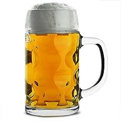 Idea Regalo - Boccale di birra tedesco da 500ml, in vetro, classico con manico