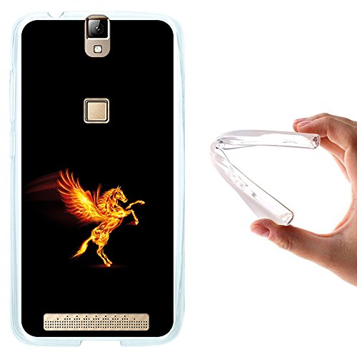 Elephone P8000 Hülle, WoowCase Handyhülle Silikon für [ Elephone P8000 ] Abstrakter Feuerpegasus Handytasche Handy Cover Case Schutzhülle Flexible TPU - Transparent