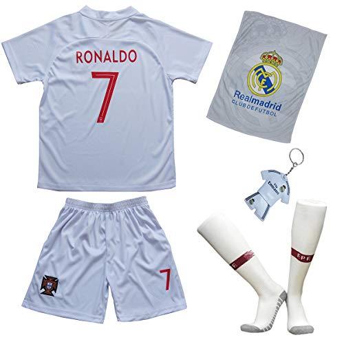 Portugal Ronaldo Trikot Set #7 Auswärts 2018/19 Kinder Fussball Trikot Mit Shorts und Socken Kinder (11-12 Jahre)