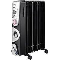 Ardes ar4r09btt Radiador de aceite eléctrico con 9Elementos, 3Potenze con función turbo, temporizador y compartimiento enrollacables, 2400W, Negro/Silver