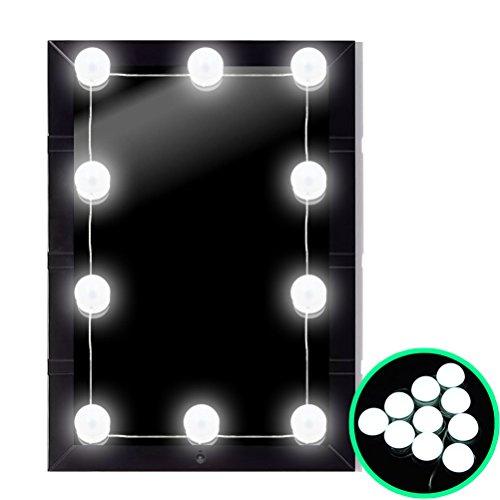 UPHAN Hollywood Stil LED Kosmetikspiegel Kit Kosmetik Make-up Schminktisch Tabelle Set Spiegel Lichter mit dimmbaren 10 LED spiegelleuchte schminklicht spiegellampe Lampen, Beleuchtungskörper Streifen
