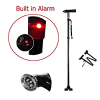 Croing Folding Walking cane With LED light and Alarm
