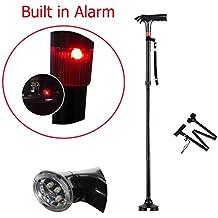 Bastón plegable, plegable bastón con alarma y ajustable LED luces, bastones de trekking, plegable bastón