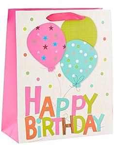 Shatchi 7169-GIFT-BAG-PINK-M - Bolsa de regalo para cumpleaños (32 cm, 26 cm, 12 cm), color rosa