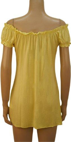 WearAll - Haut long et froncé qui dégage les épaules - Hauts - Femmes - Grandes tailles 42 à 56 Jaune Pâle