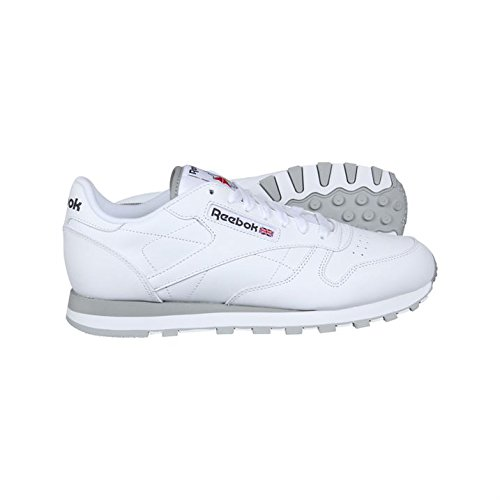 Reebok Pour Homme Cuir Classique Avec Lacets Gymnastique Chaussures De Sport Blanc (blanc / Gris)