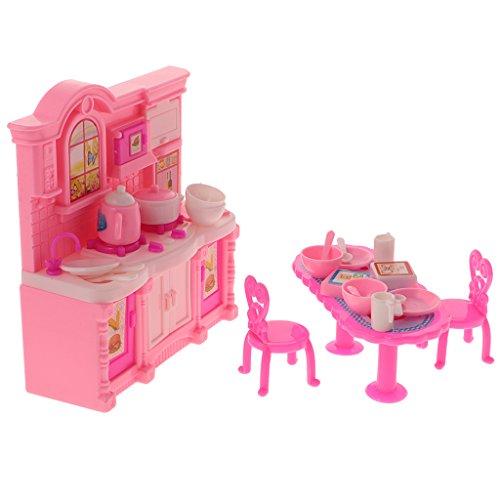 Preisvergleich Produktbild MagiDeal 1: 12 Puppenhaus Küchenmöbel Set - Esstisch + Küchenschrank + Stuhl + Geschirr - Pink (26er/ Set)