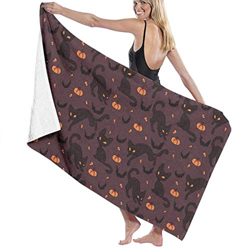 te de bain, Halloween Bat Cat Pumpkin Cool Premium 100% Polyester Large Beach Towel, Suitable for Hotel, Swimming Pool, Gym, Beach, Natural, Soft, Quick Drying ()