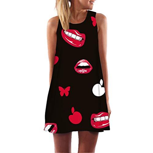 MAYOGO Damen Kleider Kleid 2019 Damen Sommer Kurz Minikleid Ohne ärmel Casual Kaftan Kleid Blusen Kleid Ärmellose Weste Kleider Tshirt Dress Viele Stile (Der Rock Bambi Kostüm)
