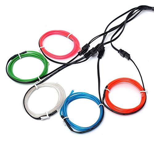 EL-Drähte,JINQIU 5×1M Fünf-Farben Neon EL Wire Draht Leuchtschnur Kabel Lichtschnur,Beleuchtung Lichtband Lichtleiste für Weihnachtsfeiern Party Kinder Halloween Kostüm Kleidung Dekoratio (Halloween-kostüme Gute Diy)