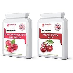 Raspberry Extra Strength + Cherry Max Weight Loss 750 mg 90 cápsulas, metabolismo de grasas, control de peso, quemagrasas, alto, apto para vegetarianos y veganos (PROWISE COMBO DEAL)